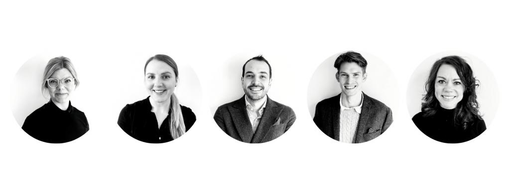 5 profilbilder i svartvitt på Baricols personal